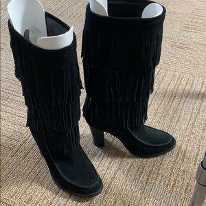 Lauren. Ralph Lauren black suede fringe boots 7M